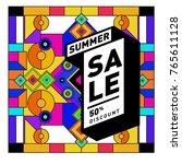summer sale memphis style web... | Shutterstock .eps vector #765611128