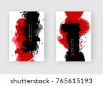 red black ink brush stroke on... | Shutterstock .eps vector #765615193