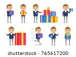 set of funny businessman... | Shutterstock .eps vector #765617200