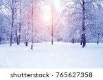 winter wonderland scene... | Shutterstock . vector #765627358