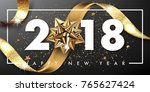 2018 merry christmas and happy... | Shutterstock .eps vector #765627424