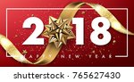 2018 merry christmas and happy... | Shutterstock .eps vector #765627430