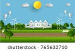 eco green city. environment... | Shutterstock .eps vector #765632710