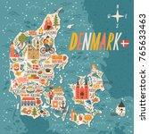 vector stylized map of denmark. ... | Shutterstock .eps vector #765633463