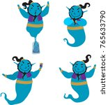 genie cartoon character in... | Shutterstock .eps vector #765633790