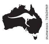 kangaroo white silhouette of an ... | Shutterstock .eps vector #765634969