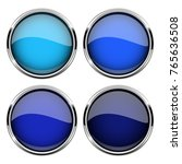 blue glass buttons with metal... | Shutterstock .eps vector #765636508