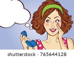 beautiful red haired lady ... | Shutterstock .eps vector #765644128