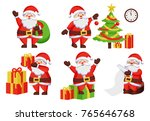 santa claus daily activities... | Shutterstock .eps vector #765646768