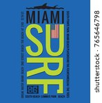 miami and surfing theme. t... | Shutterstock .eps vector #765646798