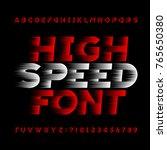 high speed alphabet vector font.... | Shutterstock .eps vector #765650380