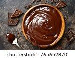 Chocolate Ganache In A Wooden...