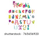 various shapes abc letters hand ... | Shutterstock .eps vector #765656920
