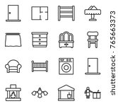 thin line icon set   door  plan ... | Shutterstock .eps vector #765663373