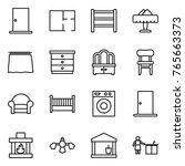 thin line icon set   door  plan ... | Shutterstock .eps vector #765663373
