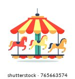 bright carousel icon isolated... | Shutterstock .eps vector #765663574