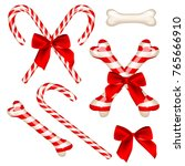 traditional candy cane and... | Shutterstock .eps vector #765666910