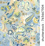 hand painted paisley motifs on... | Shutterstock . vector #765667504