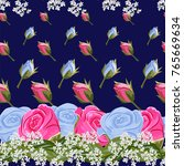 seamless pattern with pink and... | Shutterstock . vector #765669634