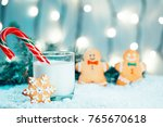 christmas gingerbread and milk... | Shutterstock . vector #765670618
