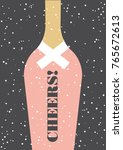 champagne greeting card design. ... | Shutterstock .eps vector #765672613