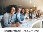 portrait of a smiling group of... | Shutterstock . vector #765674290