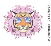 tiger wearing glasses ... | Shutterstock . vector #765675994