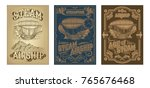 set vector steampunk posters ... | Shutterstock .eps vector #765676468