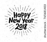 happy new year 2018 typography... | Shutterstock . vector #765681403