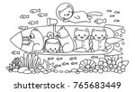 hand drawn cute cats surveying... | Shutterstock .eps vector #765683449
