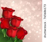 red roses on hearts bokeh... | Shutterstock .eps vector #765686173