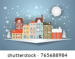 winter snow urban countryside... | Shutterstock .eps vector #765688984