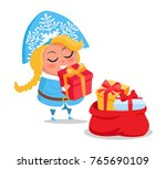 snow maiden with presents icon... | Shutterstock .eps vector #765690109