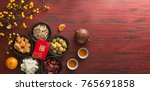 flat lay chinese new year food... | Shutterstock . vector #765691858