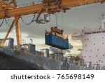 crane shipping container...   Shutterstock . vector #765698149