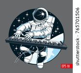 astronaut playing piano... | Shutterstock .eps vector #765701506