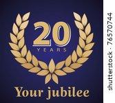 jubilee  golden laurel wreath... | Shutterstock .eps vector #76570744