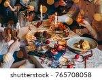friends celebrating christmas... | Shutterstock . vector #765708058