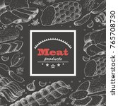 vector background with meat... | Shutterstock .eps vector #765708730