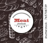 vector background with meat... | Shutterstock .eps vector #765708739