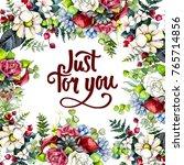 bouquet flower frame in a... | Shutterstock . vector #765714856