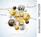 2018 happy new year... | Shutterstock .eps vector #765716209