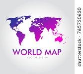 purple gradation world map... | Shutterstock .eps vector #765730630
