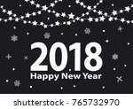 happy new year 2018 black and... | Shutterstock .eps vector #765732970