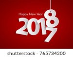 red happy new year 2018 concept ... | Shutterstock .eps vector #765734200
