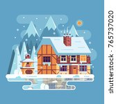 snowy scene with rural winter... | Shutterstock .eps vector #765737020
