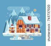 snowy scene with rural winter...   Shutterstock .eps vector #765737020