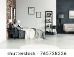 spacious bright bedroom with...   Shutterstock . vector #765738226