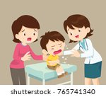 female doctor and mother... | Shutterstock .eps vector #765741340
