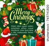 merry christmas greeting card... | Shutterstock .eps vector #765741820